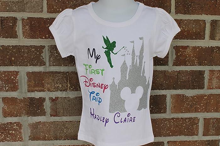 7740e7ad5 Amazon.com: My first Disney trip shirt personalized girls shirt Disney  castle shirt Disney trip shirt mickey mouse shirt minnie mouse shirt:  Handmade