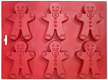 Silicone Worx Molde de silicona para 6 galletas, diseño de muñeco, color rojo