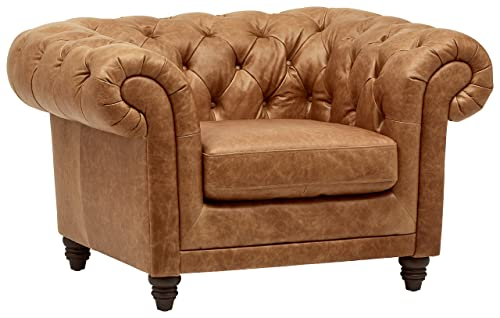 Stone Beam Bradbury Chesterfield Tufted Accent Chair, 50 W, Cognac