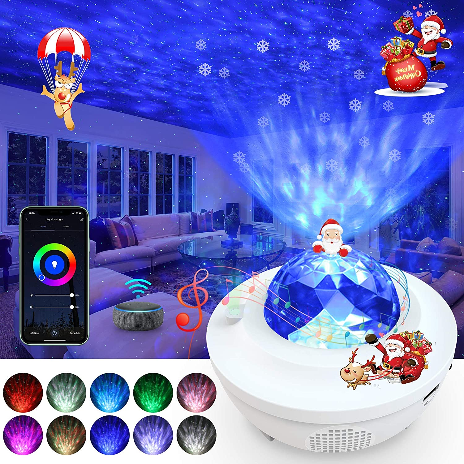 LBell Galaxy Projector 3 in 1 Smart Star Projector Sky Lite with Alexa,Google Assistant for Baby Kids Bedroom//Game Rooms//Home Theatre//Night Light Ambiance with Bluetooth Music Speaker(White)