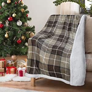 "Beige Buffalo Plaid Decorative Throw TV Sherpa Blanket 50"" x 60"", Super Soft Warm Comfy Plush Fleece Bedding Couch Cabin Throw Blanket Gray"