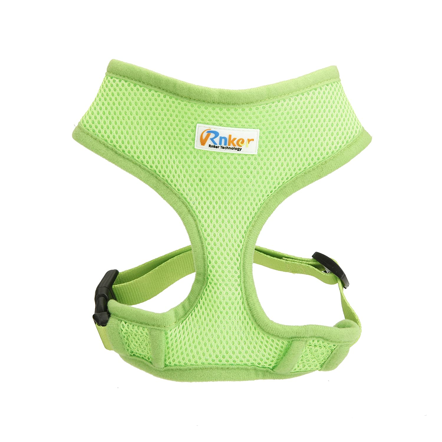 Green S (12-18'' chest girth) (max neck girth 9.8\ Green S (12-18'' chest girth) (max neck girth 9.8\ Rnker Soft Mesh Dog Harnesses Padded Vest No Pull Comfort Double Layer Harness for Pet Puppy (Small, Green)