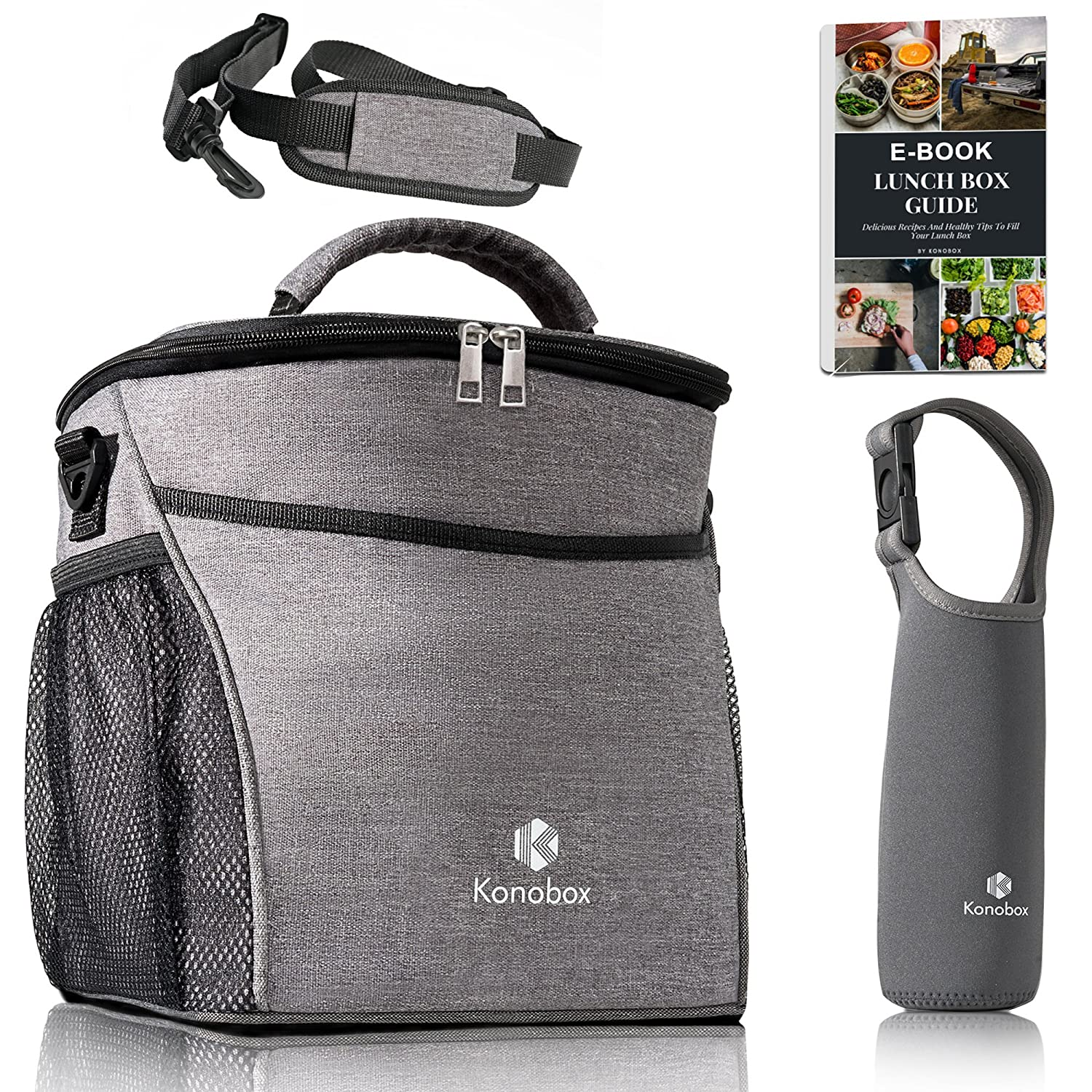 Insulated Big Lunch Bag - Leakproof Tote For Women and For Men - Includes a Thermal Bottle Sleeve - Grey Lonchera by Konobox