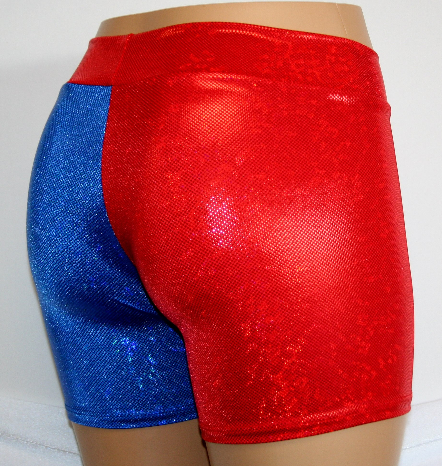 Dilly Duds Children's Red and Blue Holographic Spandex Shorts (X-Small, Red Blue) by Dilly Duds (Image #3)