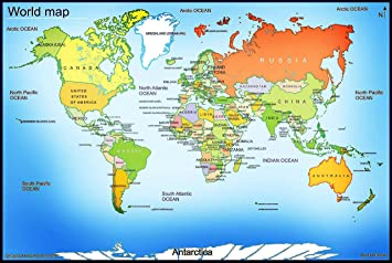Idecor World Map Wall Posters For Room School, Classroom ...