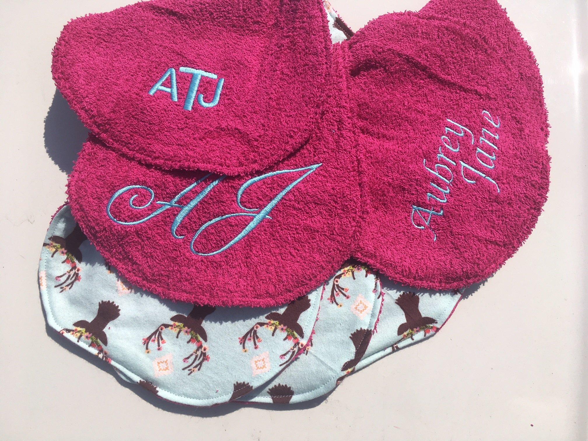 Set of 4 Personalized Baby Burp Cloths ~ Deer Antlers & Hot Pink