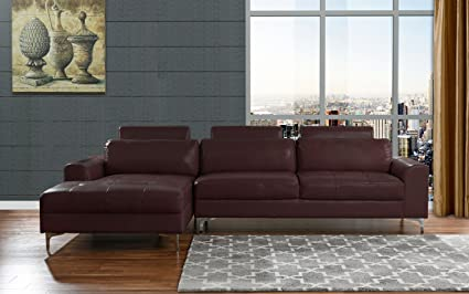 Modern Large Leather Sectional Sofa, L Shape Couch With Extra Wide Chaise  Lounge (