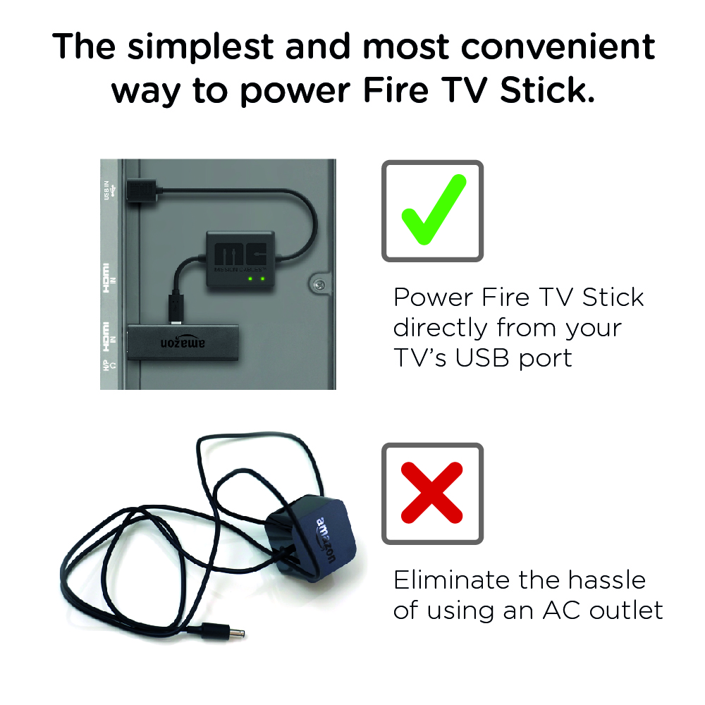 Mission Cables USB Power Cable For Amazon Fire TV Stick
