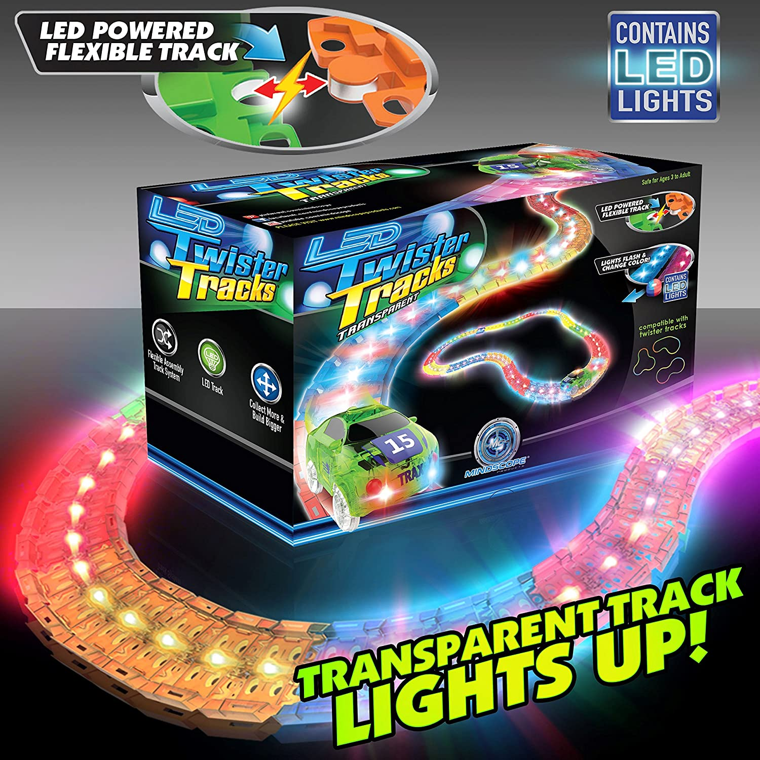 Amazon.com Mindscope LED Laser Twister Tracks 12 Feet of Light Up Flexible Track + 1 Light Up Race Car Each Inidual Track Piece Contains Lights ...  sc 1 st  Amazon.com : lights tracks - azcodes.com