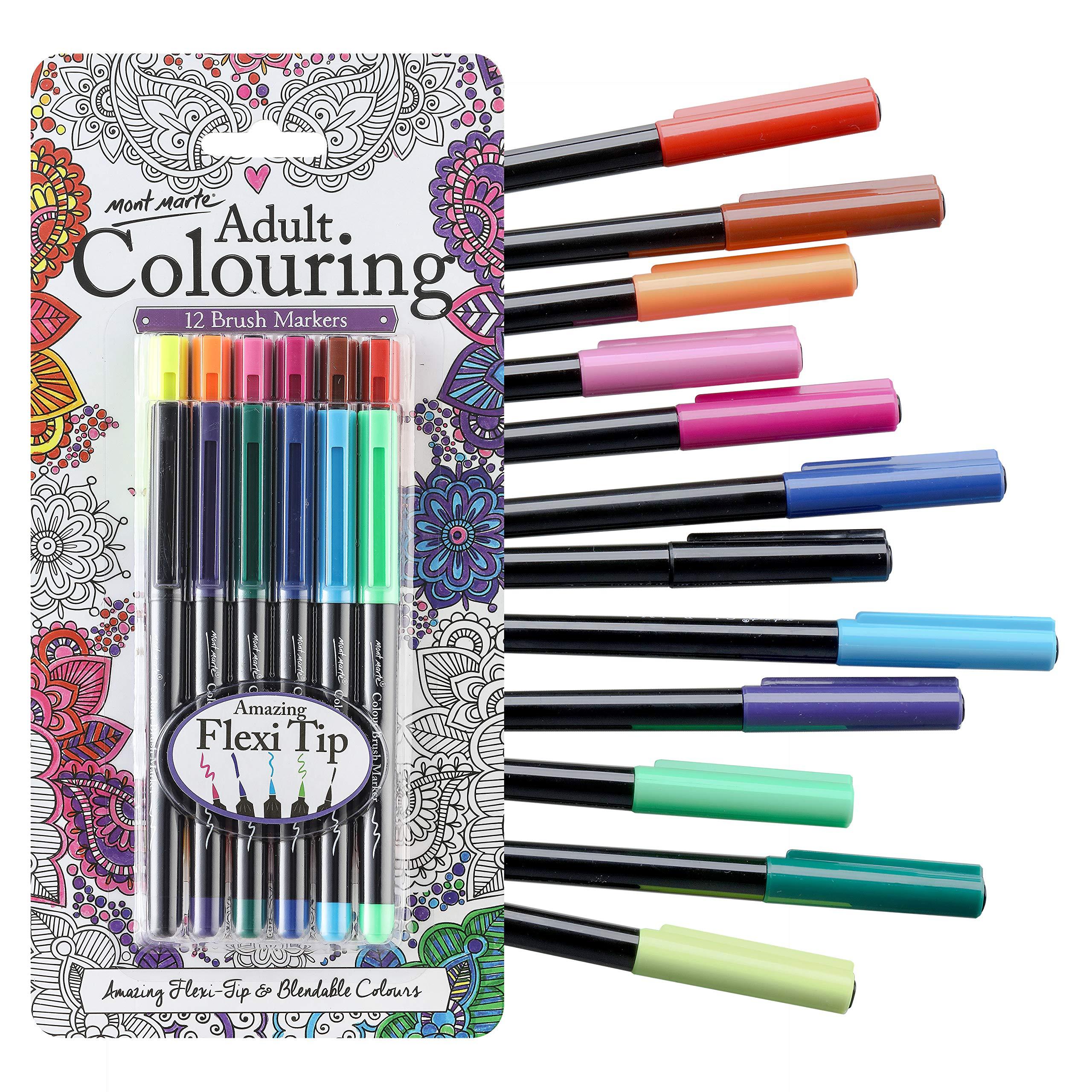 Blending 12 Vibrant Colouring Watercolour Brush Pens