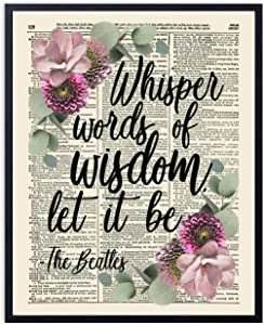 Printsmo, Whisper Words of Wisdom Typography Quote, Vintage Dictionary Art Print, Inspirational Art Print with Rustic Floral Accent, Wall Art for Home Decor and Bedroom Art, 8x10 inches, Unframed