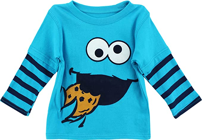 101dbfbe6 Sesame Street Boys' Cookie Monster Long Sleeve T-Shirt, Cookie Blue, ...
