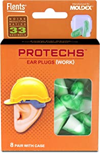 Protechs Ear Plugs for Construction, 8 Pair with Case, NPR 33