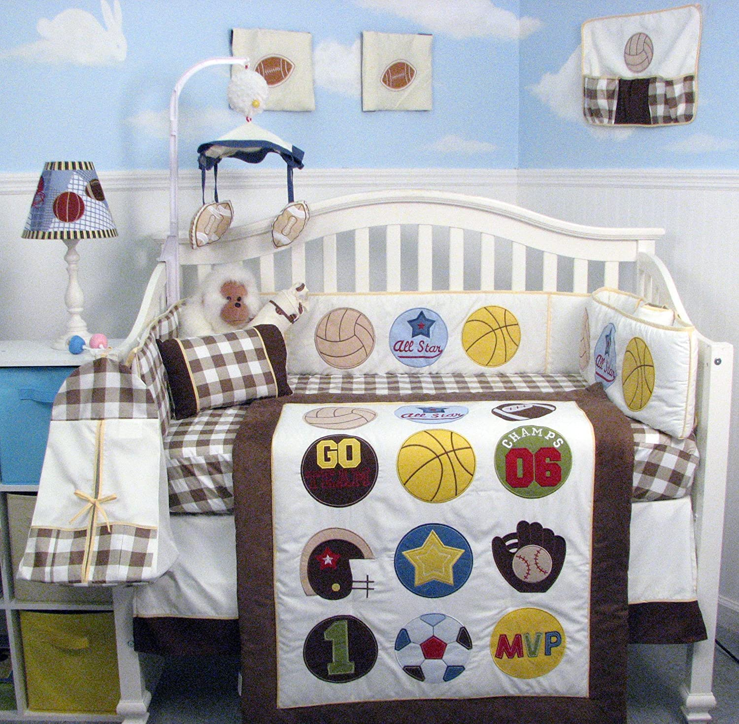Super Sport Fan (cream and brown) Baby Crib Nursery Bedding Set 14 pcs included Diaper Bag with Changing Pad & Bottle Case by SoHo Designs   B00IMKTZOM