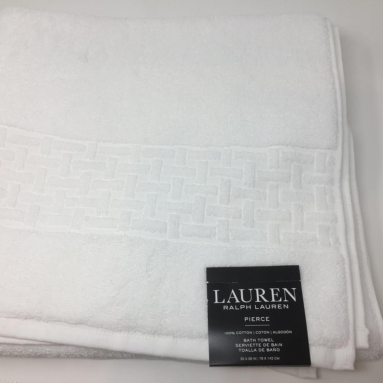 Amazon.com: Lauren Ralph Lauren Pierce Bath Towel White 30 x 56 - Basket Weave Pattern: Home & Kitchen