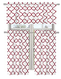 Regal Home Collections Shabby Lattice Kitchen Curtains - Assorted Colors & Sizes (Hunter Red, Complete Kitchen Curtain Set)