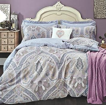 Lavender Lilac Bohemian Paisley Duvet Quilt Cover Light Blue Purple Boho  Chic 100% Cotton Bedding