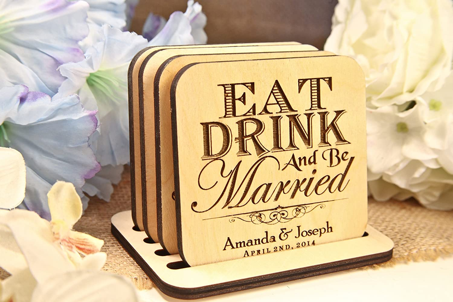 Personalized Coasters - Set of 4 - Eat Drink & Be Married