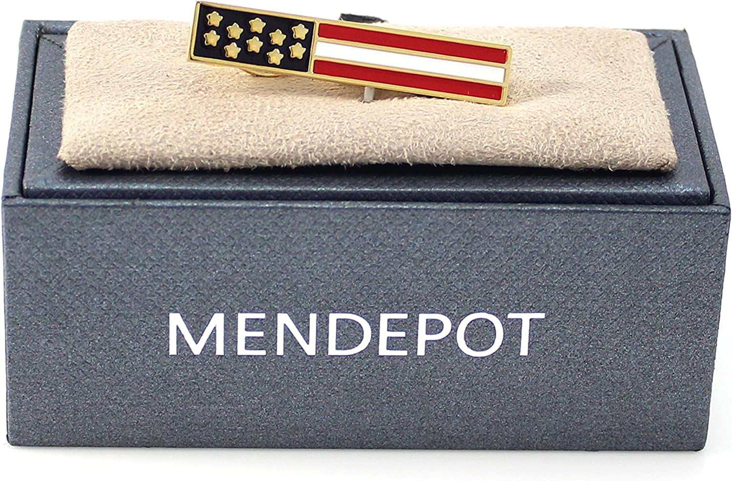 MENDEPOT American Flag Tie Clip Gold Plated USA Flag Tie Clip In Box
