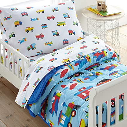 Amazon Com Wildkin 100 Cotton 4 Piece Toddler Bed In A Bag Bedding Set Includes Comforter Flat Sheet Fitted Sheet And Pillowcase Certified Oeko Tex Standard 100 Bpa Free Olive Kids Trains Planes And Trucks Toys Games