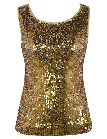 d97a9ae0 PrettyGuide Women Sequin Tank Top Glitter Sleeveless Vest Top Gold S/0-2