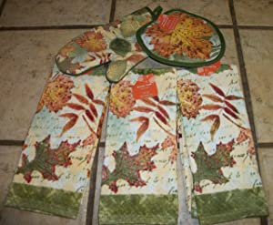 Fall Leaves Thick Velour Dish Towels and Matching Oven Mitt and Pot Holders