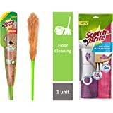Scotch-Brite No-Dust Fiber Broom (Multi-Purpose, Green) & Microfiber Multipurpose Wipe (Pink and Purple, Pack of 2) Combo
