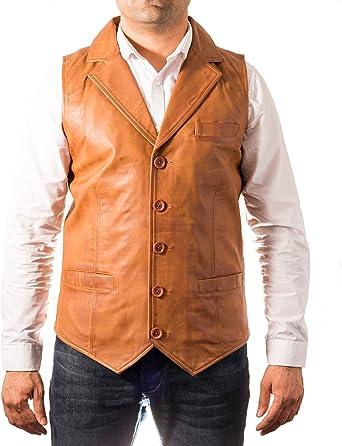 A to Z Leather De Tan Hombre del de Cinco Botones de Cuero ...