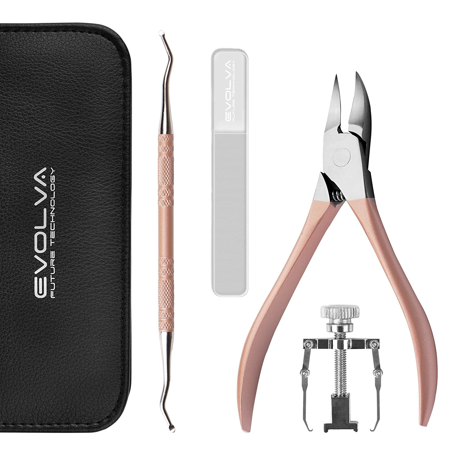 Evolva Future Technology Ingrown Toenail Tool 5-in-1 Profession Toenail Pedicure Corrector Tool with Portable Leather Case (Black)