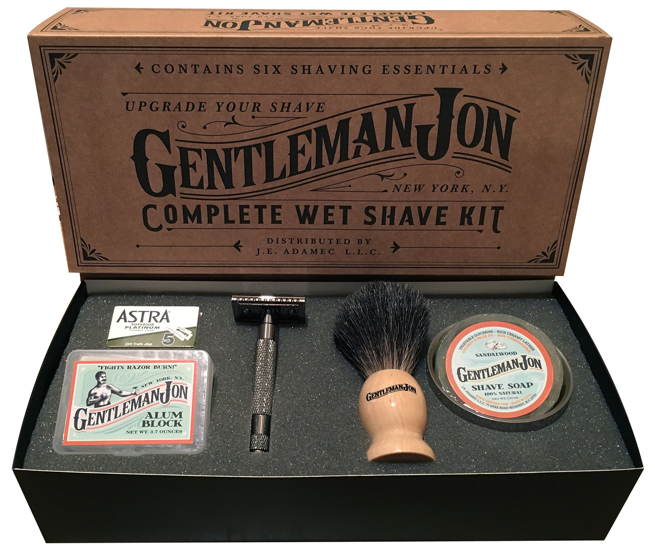 Gentleman Jon Complete Wet Shave Kit | Includes 6 Items: One Safety Razor, One Badger Hair Brush, One Alum Block, One Shave Soap, One Stainless Steel Bowl and Five Razor Blades by Gentleman Jon
