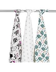 3 x diseño de búhos Super suave alta calidad franela para bebé pañuelos cuadrados de muselina