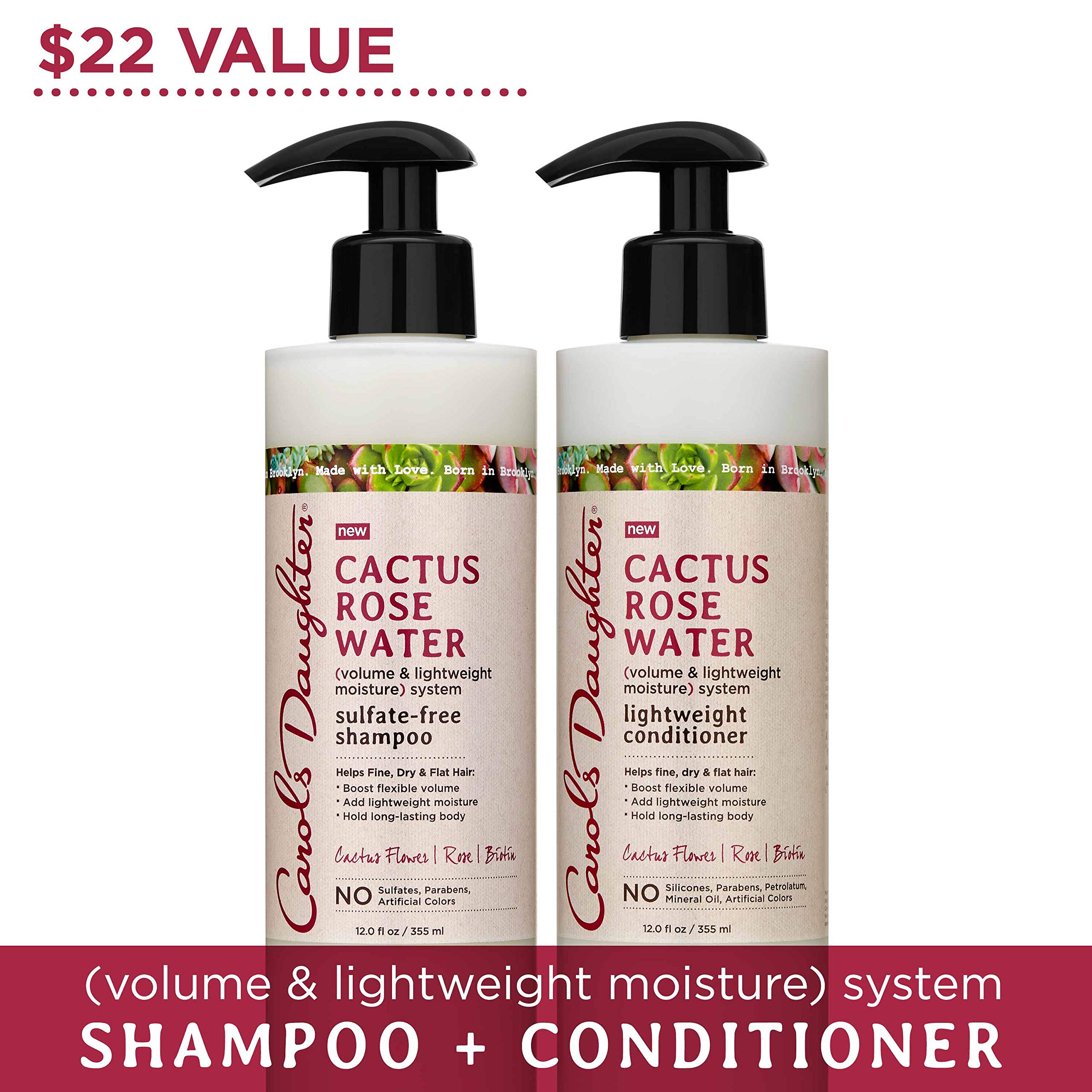 Carol's Daughter Cactus Rose Water Sulfate Free Shampoo and Conditioner Set For Fine Hair, Dry Hair, Flat Hair, with Cactus Flower Extract, Rose Water, and Biotin, Paraben Free by Carol's Daughter