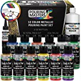 Pouring Masters 12 Color Metallic Ready to Pour Acrylic Pouring Paint Set - Premium Pre-Mixed High Flow 2-Ounce Bottles - for Canvas, Wood, Paper, Crafts, Tile, Rocks and More