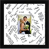 14x14 black wedding picture frame matted to fit pictures 5x7 inches or 14x14 without mat