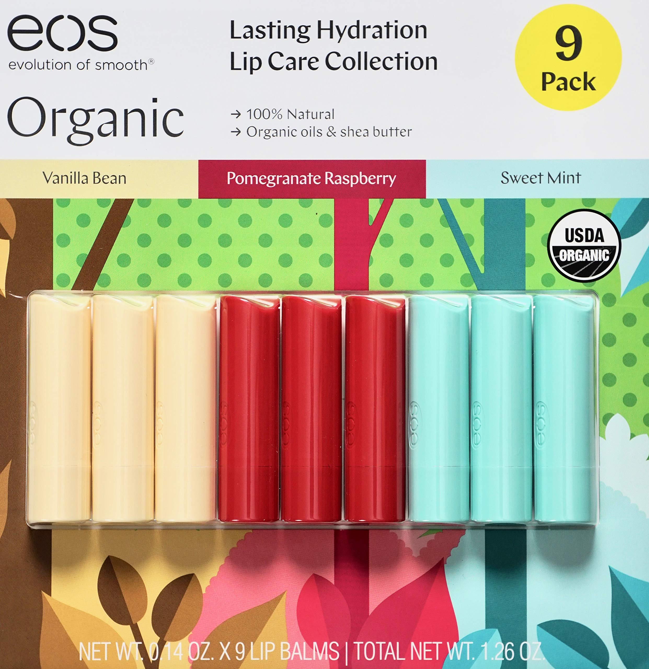 EOS Organic Lip Balm Care Collection, 9 Pack