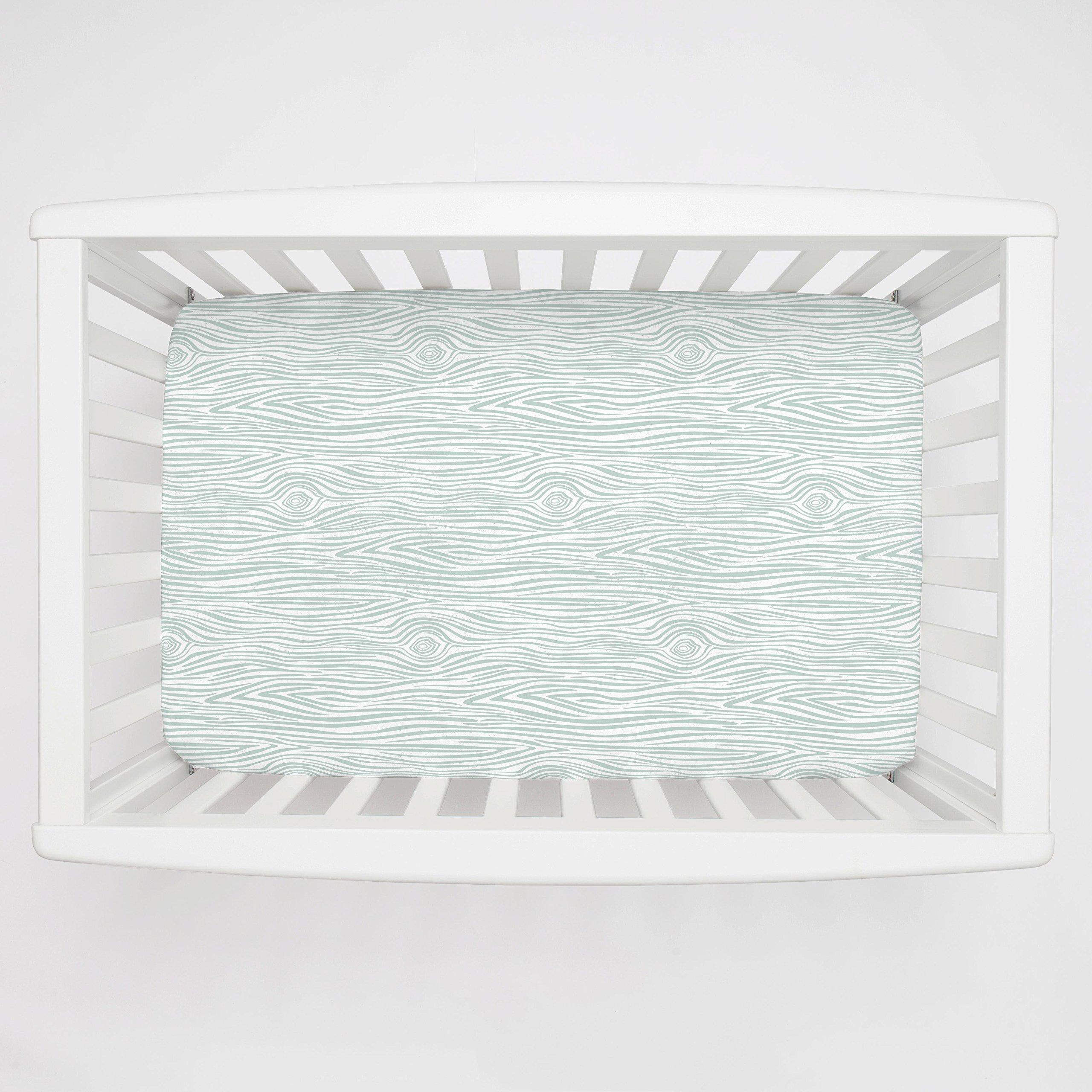 Carousel Designs Seafoam Woodgrain Mini Crib Sheet 5-Inch-6-Inch Depth - Organic 100% Cotton Fitted Mini Crib Sheet - Made in The USA
