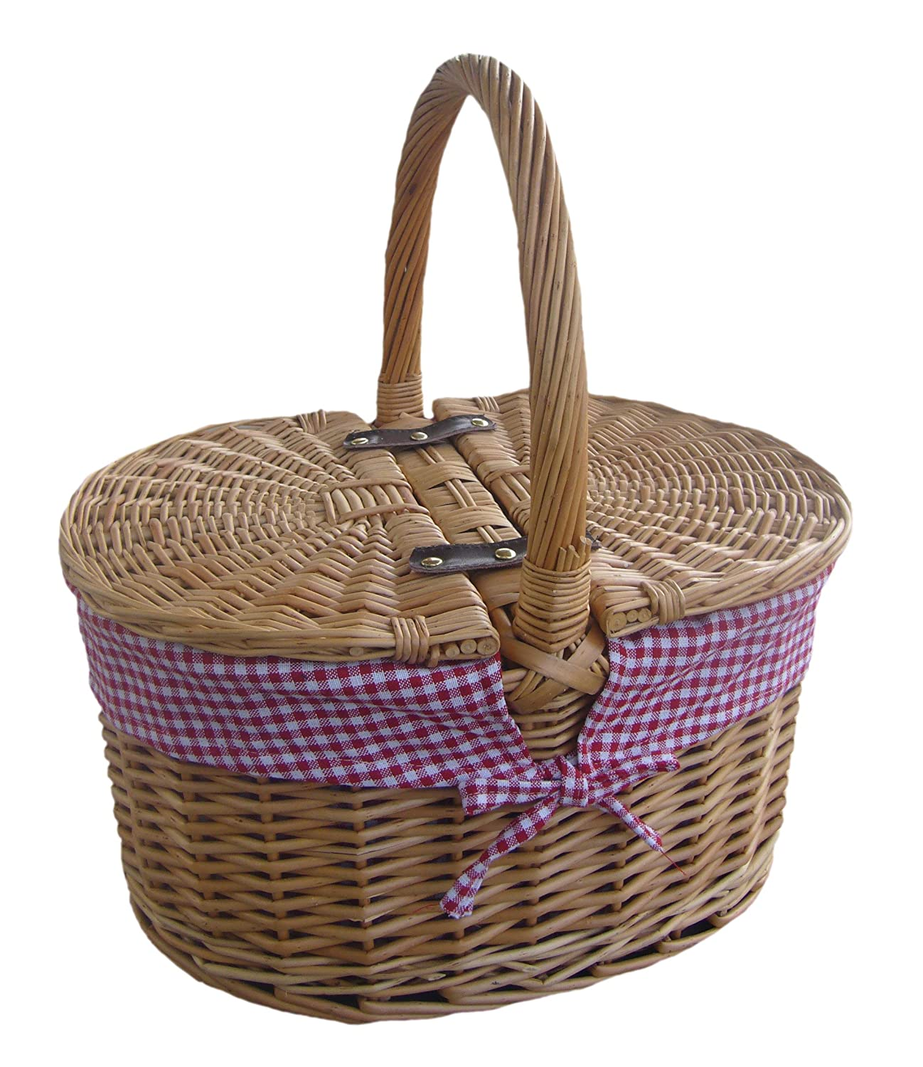 Buff Willow Wicker Oval Lidded Red Gingham Lined Hamper Picnic Basket WD-40