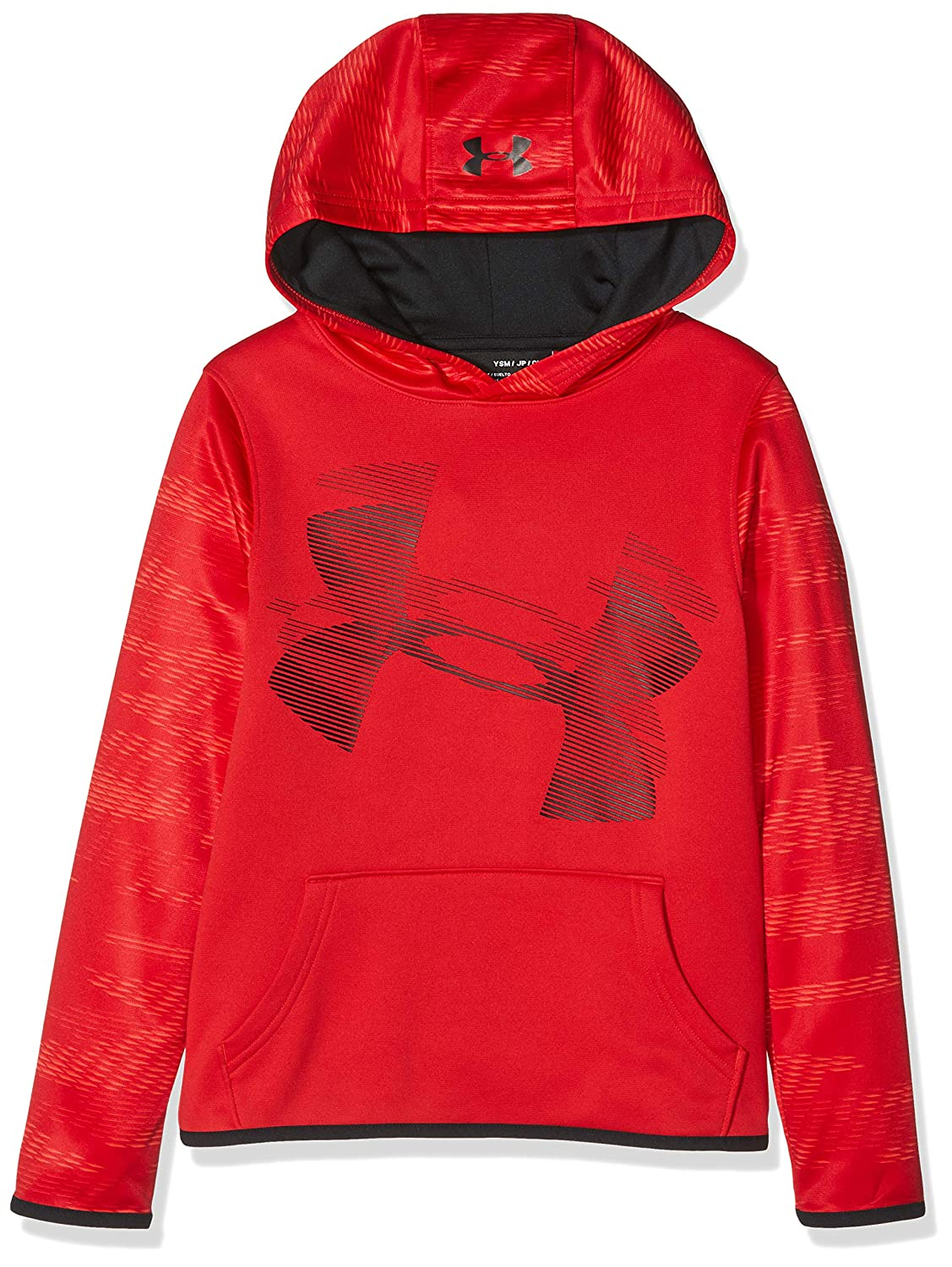 Youth Small Under Armour Boys Fleece Hoody Warm-up Top Red//Black
