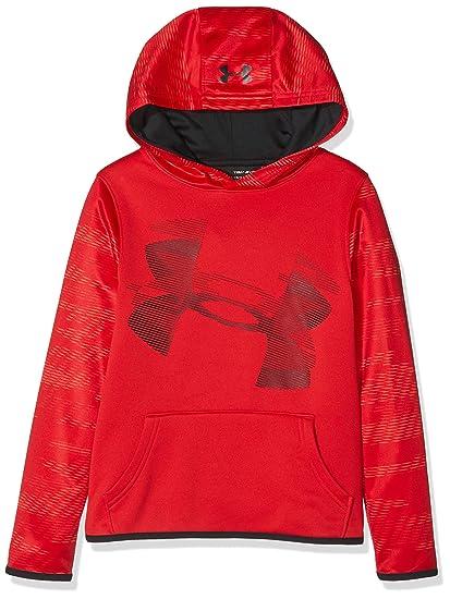 Red//Black Under Armour Boys Fleece Hoody Warm-up Top Youth Medium