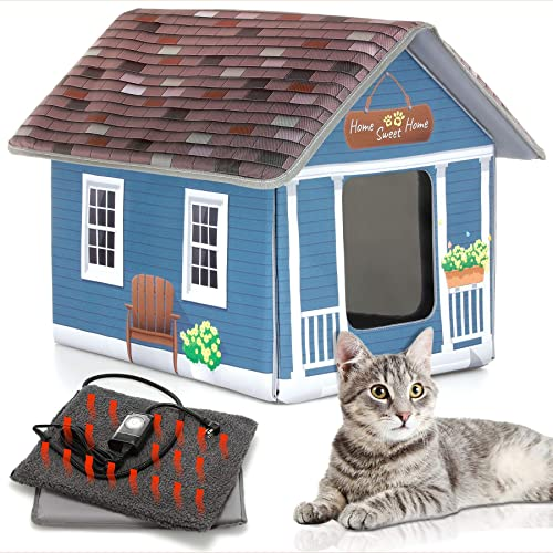 PETYELLA Cat Houses for Outdoor Cats – Heated Cat Bed – Heated Cat House – Outdoor Cat House