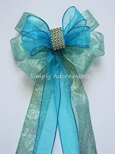 Mint Blue Wedding Pew Bow Mint Turquoise Wedding Ceremony Decoration Mint Blue Wedding Chair Bow Birthday Party Decoration Bridal Shower Decoration Bows Gift Bows