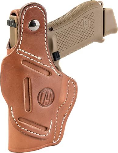 1791 GUNLEATHER Leather Gun Holster - 3 Way OWB Right Handed Thumb Break Holster - Fits Glock 17 19 22 23 32, Ruger SR9 SR22, Sig P225 P299, SW MP9 MP40,...