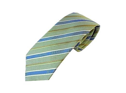 corbata verde rayas azul, fabricado artesanal, 100% Seide. Pietro ...