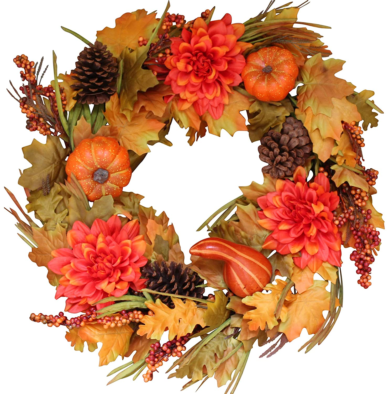 Oakwood Silk Fall Door Wreath 22 Inches - Autumn Colors Enhance Home Decor, Approved for Covered Outdoor Use, Beautiful White Gift Box Included The Wreath Depot
