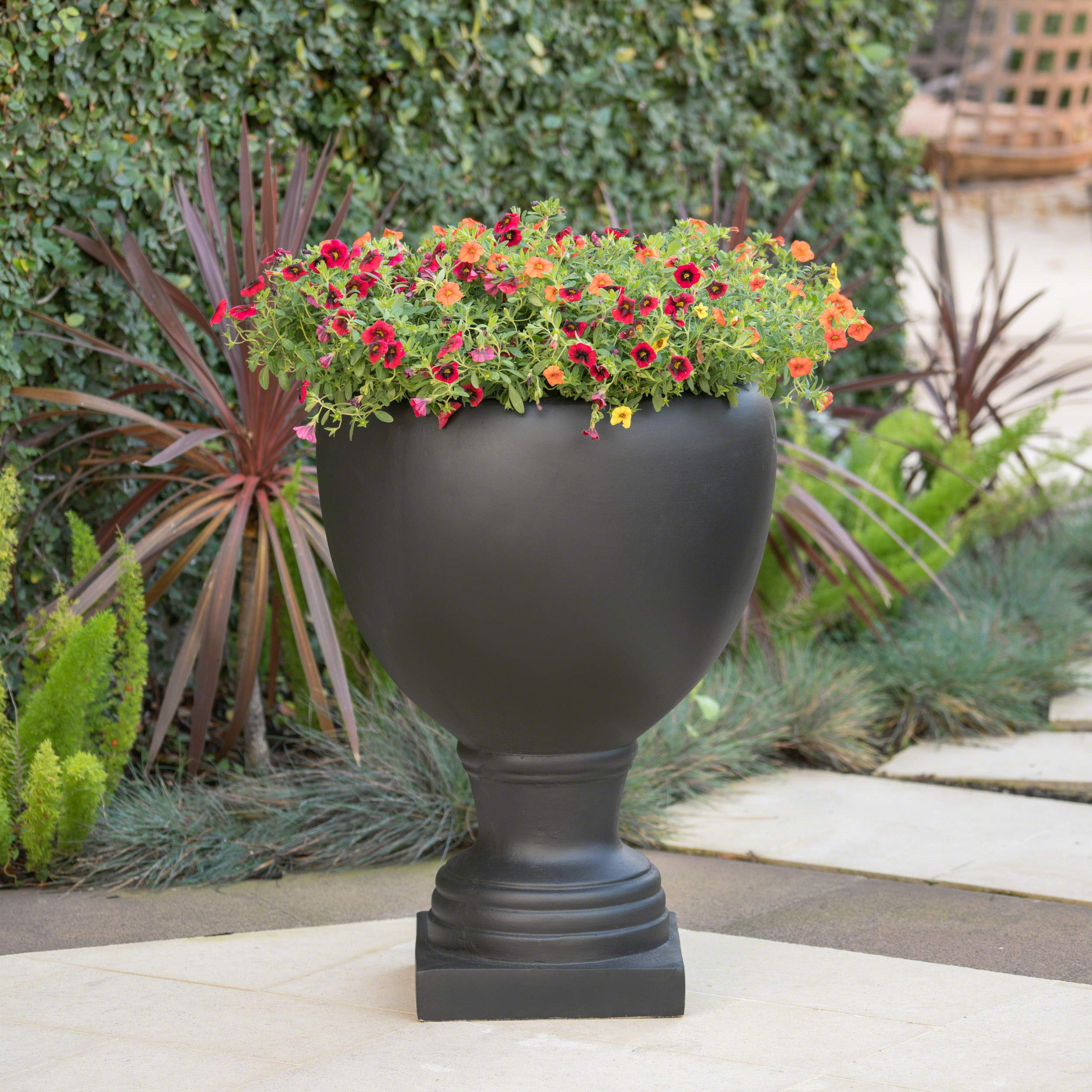 Great Deal Furniture Shiny Outdoor Matte Black Finished Cast Stone Urn by Great Deal Furniture (Image #2)