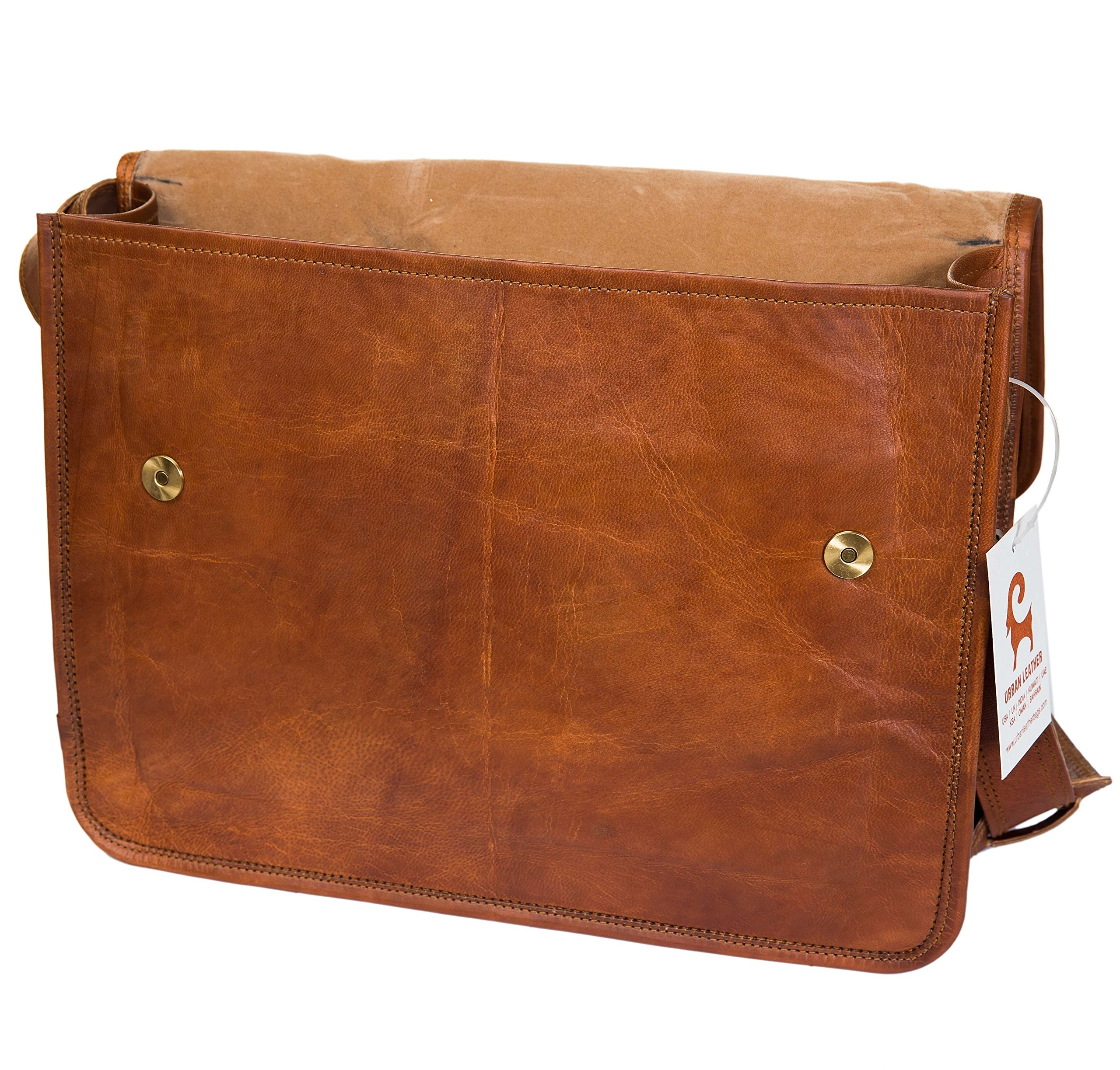 Urban Leather Handmade Laptop Messenger Bag for Men Women Flap Over Office Leather Shoulder Work Bag with Shock Proof MacBook Padding with Natural Textures