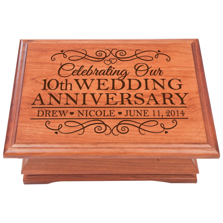 10th Wedding Anniversary Jewelry storage chest Personalized 10 year Parent Wedding Keepsake Box,Gift for Her