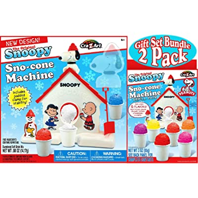 Snoopy Original Sno-Cone (Snow Cone) Machine & Refill (3oz) Pack Gift Set Bundle - by Unknown: Toys & Games