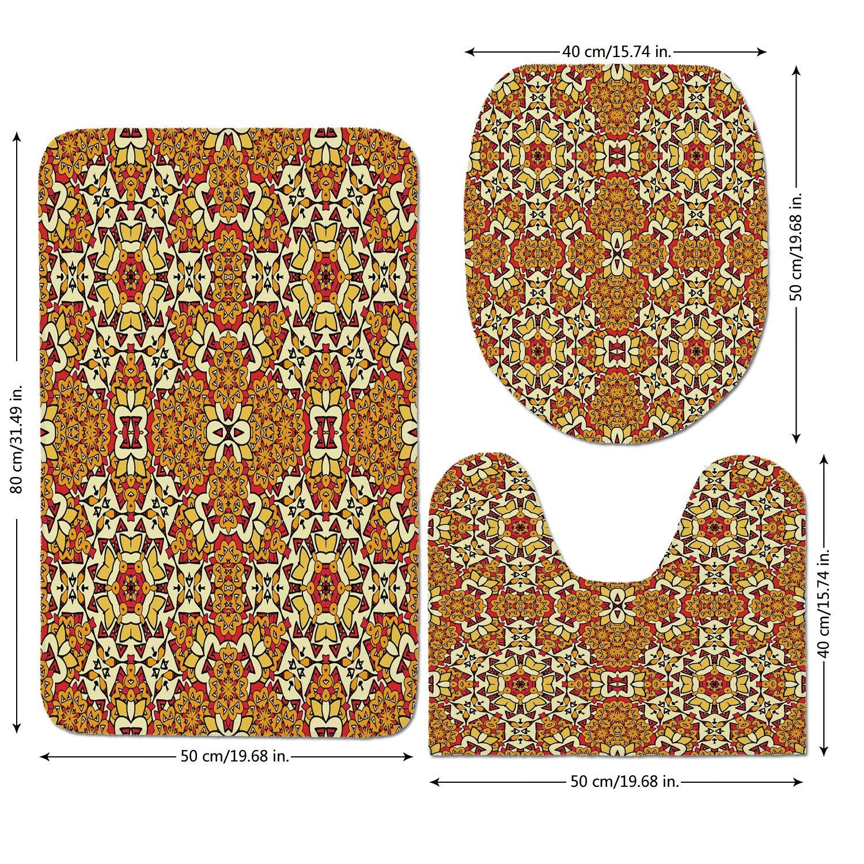 3 Piece Bathroom Mat Set,Yellow Mandala,Geometric Unusual Motifs India Decor Folkloric Art Elements Concentric,Red Orange Pink,Bath Mat,Bathroom Carpet Rug,Non-Slip