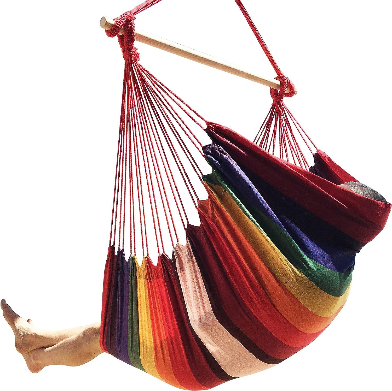 Hammock Sky Large Brazilian Hammock Chair - Extra Long - Hot Colors - 300 lbs Weight Capacity
